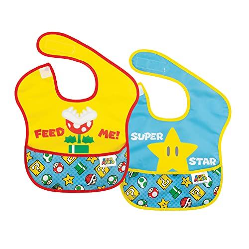 Bumkins Nintendo Super Mario SuperBib, Baby Bib, Waterproof, Washable, Stain and Odor Resistant, 6-24 Months (Pack of 2)