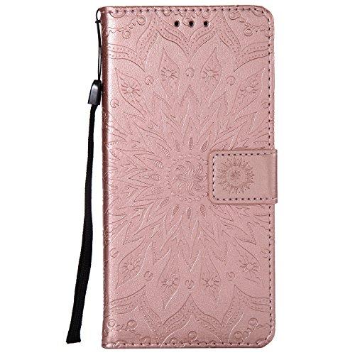 Ysimee Coque Compatible avec Huawei Honor V10 Fleur Portefeuille en Cuir Etui de Protection avec Fentes de Cartes Fermeture Magnétique Fonction Stand Case Couverture à Rabat Housse,Or Rose