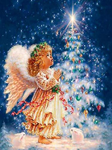 Diamante pintura angelito árbol de Navidad cubo de Rubik diamante punto de cruz DIY personalizado completo...