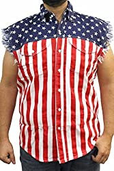 Flag Sleeveless Denim Shirt Vest Get-er done liberal red neck