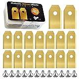 Gobesty - Cuchilla para cortacésped robótica, 18 piezas de acero inoxidable Automower, juego de cuchillas de repuesto, chapadas en titanio, con tornillos y destornillador(1,37 * 0,70 * 0,03 pulgadas)
