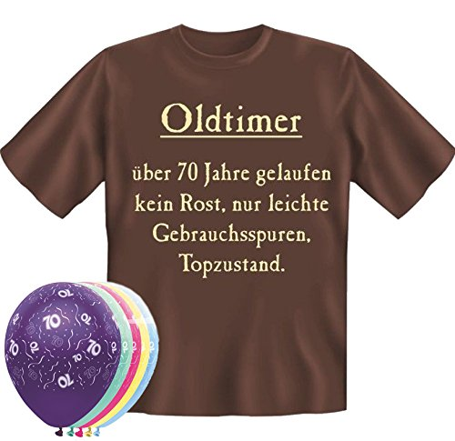 T-Shirt Oldtimer über 70 Jahre gelaufen Größe XL schoko zum 70. Geburtstag + 5 Luftballons