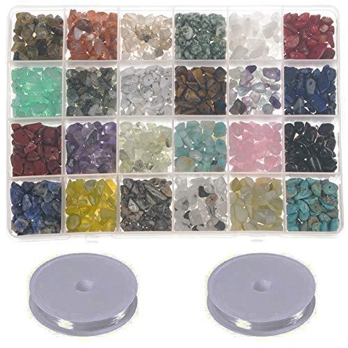 Willan Natural Gemstone Chips Beads Crushed Irregular Chips Stone Beads Set Healing Crystal Loose Beads for Jewelry Making Adult
