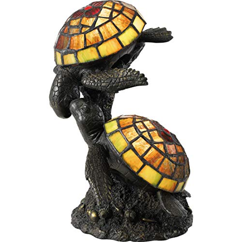 "Quoizel TF4052R Wellton Tiffany Turtle Table Lamp Lighting, 2-Light, 30 Watts, Architectural Bronze (11""H x 9""W)"
