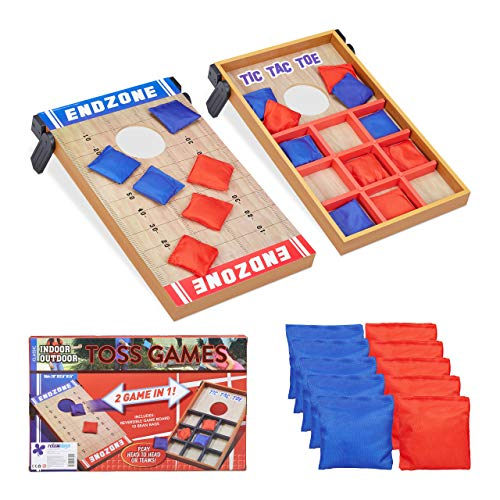Relaxdays 10022795 Wurfspiel 2 in 1, Cornhole & Tic Tac Toe, 10 Bean Bags, Geschicklichkeitsspiel, Indoor & Outdoor, mehrfarbig