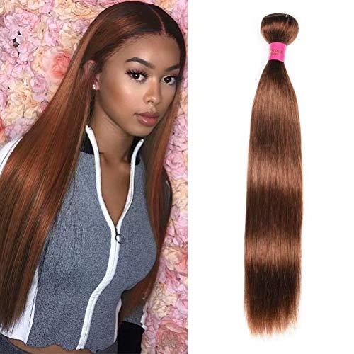 FEEL ME 1 Piece 22 Inch Peruvian Straigh Virgin Hair Bundles 8A Peruvian Hair Bundles Color 4 Light Brown Straight Hair Weave Bundles 100% Human Hair Extensions Machine Weft