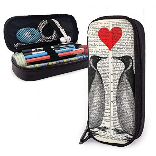 Estuche para lápices con cremallera, para guardar cosméticos, maquillaje, papelería, para niños, estudiantes, niños, niñas, hombres, mujeres, para oficina, escuela, accesorios, diseño de pingüinos, corazón rojo en el libro