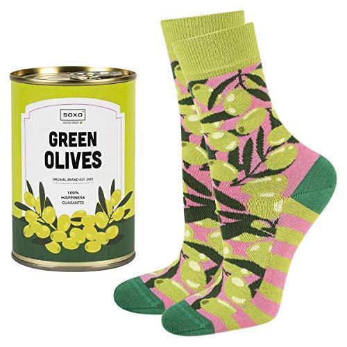 soxo calcetines de colores, estampados con aceitunas | para Mujer | embalaje divertido lata de conserva | 35-40 EU | calcetines de algodón alegres divertidos largos| idea para regalo empaquetado