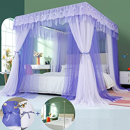 SunnyLisa Canopy Frame for Bed with Mosquito Nettings - Queen Size Bed Canopy Steel Frame with Bed Curtains,Classic Flat Top Mosquito Net Bedroom Decor(Stainless Steel Pipes and Accessories Included)
