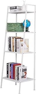 Rapesee Rapeee Multifunctional Metal 4 Shelf Bookcase, Ladder-Shaped Plant Flower Stand Rack Bookrack Storage Shelves (White)