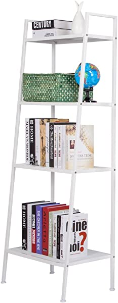 Teeker 多功能 4 层梯子架子老式书架植物支架收纳架办公室浴室客厅象牙色白色架子