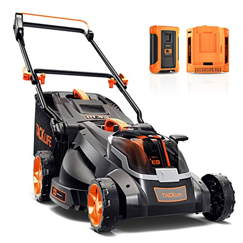 TACKLIFE Cordless Lawn Mower, 16-Inch 36V Brushless Lawn Mower, 4.0Ah Battery, 6 Mowing Heights, 3 Operation Heights, 98% Clean Cutting Rate, 10.5Gal Grass Box