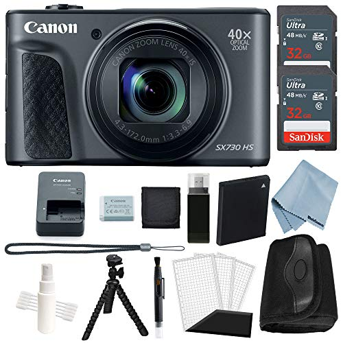Canon Powershot SX730 HS Bundle (Black) + Advanced Accessory Kit - Including to Get Started
