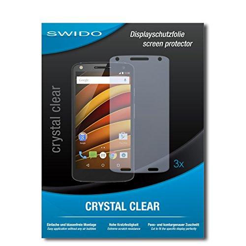 SWIDO® Bildschirmschutzfolie für Motorola Moto X Force [3 Stück] Kristall-Klar, Extrem Kratzfest, Schutz vor Kratzer, Folie, Glasfolie, Bildschirmschutz, Schutzfolie, Panzerfolie