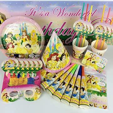 Vajilla de Fiesta,CBOSNF 69 PCS Suministros de Fiesta de Princesa, Vajilla Fiesta de Cumpleaños Para Niños,6 Platos,6 Tazas,20 Servilletas,Pancarta etc