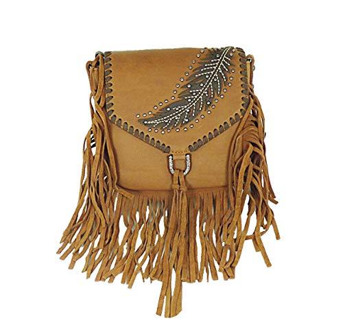 Handtasche Schultertasche Westerntasche Montana West Leder mit Fransen, Feder u. Nieten (Hellbraun)