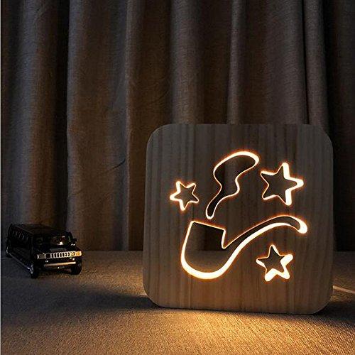 OOFAY Night Light@ 3D Illusion Lampe LED Veilleuse Créatif Modèle De Fumer Lumières Sculpture Art du Bois Lampe De Tableau/Lumière d'alimentation D'usb+Ligne De Données(avec Interrupteur)