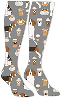Beagle Coffee Dog Compression Socks Long Knee Stockings High Socks