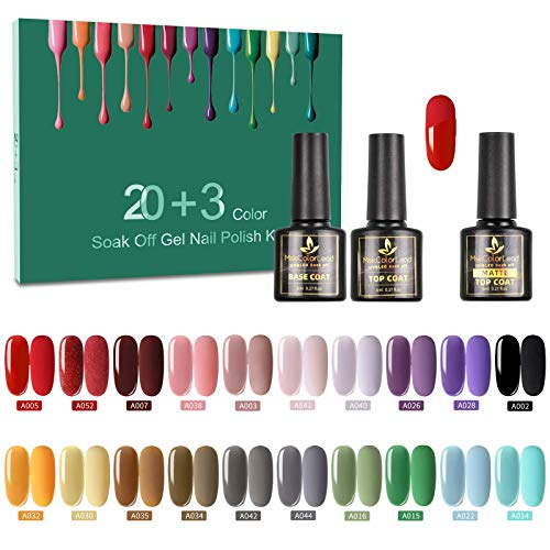 Vernis Semi Permanent -23 Vernis Manucure Nail Art Lot Vernis à Ongles Vernis Gel UV LED Nail Polish 20 Couleurs Populaire Avec Base et Top Coat, Matt Top Coat, 8ml