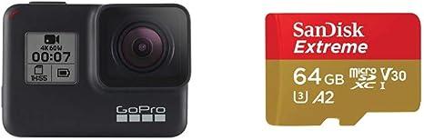TALLA 64GB. GoproHero7 - CámaraDeAcción (Sumergible hasta 10M,Vídeo4K HD,FotosDe12MP) + SanDisk Extreme - Tarjeta de Memoria microSDXC de 64GB con Adaptador SD, A2, hasta 160MB/s,