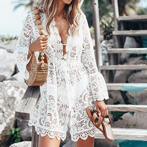 XYZMDJ Blusa de bikini de verano para mujer, de encaje, con encaje, para traje de baño, ropa de playa (color: blanco, tamaño: mediano)