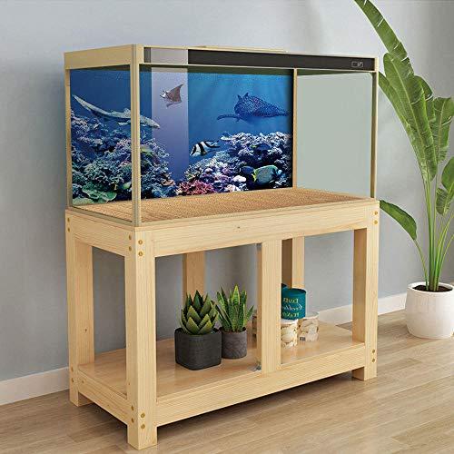 YUXAN 3D Wall Sticker Creative Fish Tank Autocollant Pvc Deep Sea Shark Aquarium Salle De Bains Décoration De La Maison Art Mural-50X100Cm