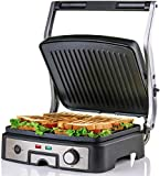 Ovente Electric Panini Press Grill Bread Toaster Nonstick Double Sided Flat Plates with 3 Temperature Setting &...