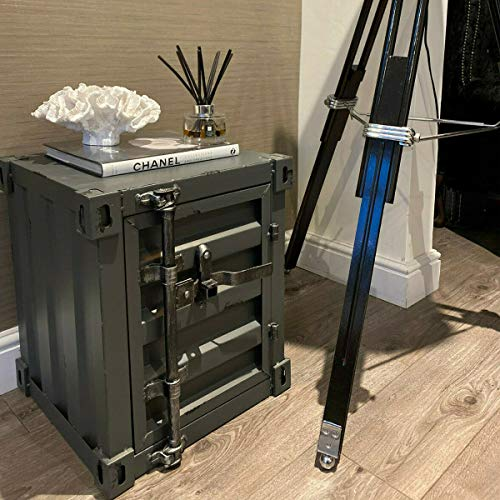 CGC Grey Industrial Metal Shipping Container Retro Bedside Table Vintage Lockable Storage Coffee Side Chest Drawer Bedroom Bed Side Lounge Dining Room Office