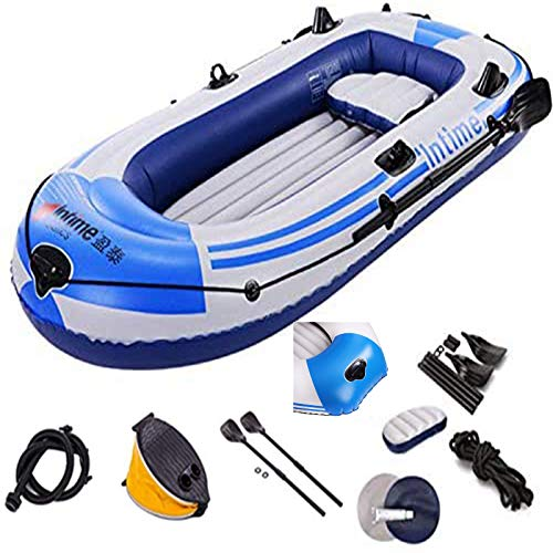 8FT Inflatable Boat Series 3 Person Explorer Touring Kayak Canoe Thickened Rubber Hovercraft Set Folding PVC Rafting Fishing Dinghy Tender Pontoon Raft with Paddles & Air Pump for Water Sports Fun