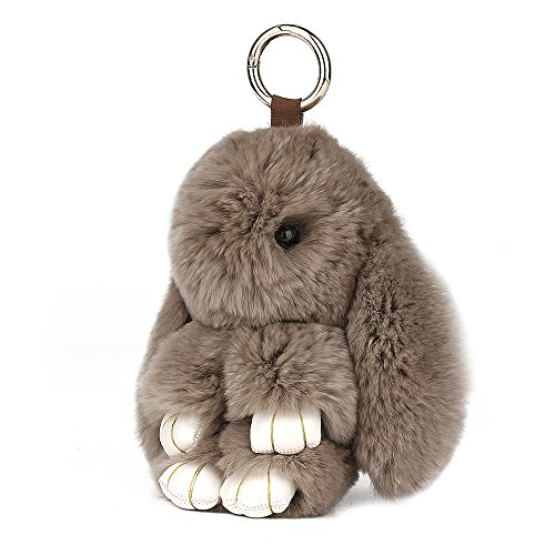 SCIONE Cute Easter Rabbit Bunny Fur Doll Key Chain for Women Bag Charms
