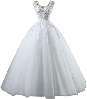 Lace Ball Gown Wedding Dress for Bride V Neck Beaded Tulle Floor Length Bridal Gown