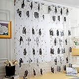 Youdong 1pc Chambres en Effet Lin Fenetre Rideaux Brodé Motif Geometrique Voilage Blanc à Oeillet Transparent pour Salon Decoration Rideau Chambre Impression Type Tulle Hauteur 130x Largeur 100cm