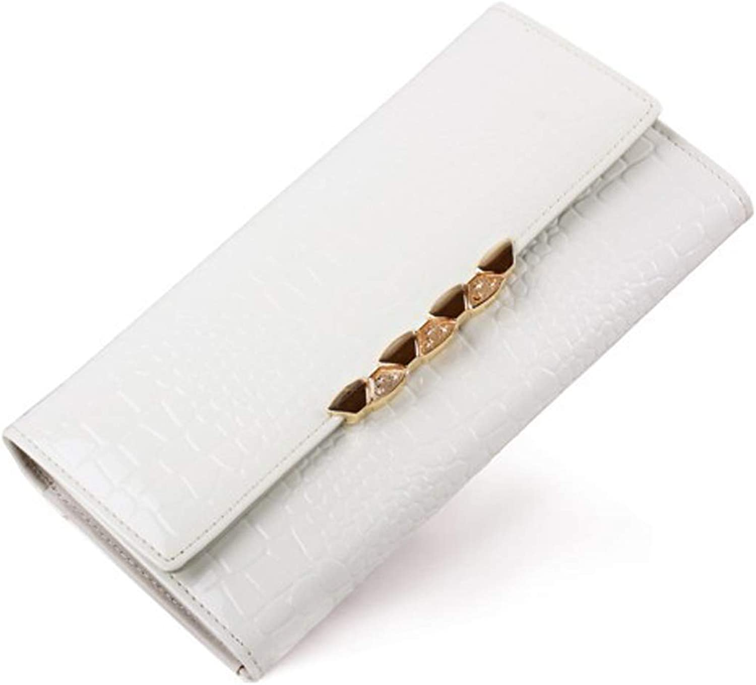 Cross White Wallet Ladies Folded Wallet Long Wallet Leather for Ladies Leather Mobile Suitable for A Convenient Gift for Work (color   White)