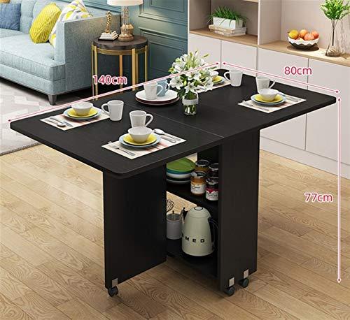 Tavolo da pranzo mobile pieghevole in legno massello creativo Soggiorno soggiorno roba stoccaggio mobili per la casa (Color : Black 140)