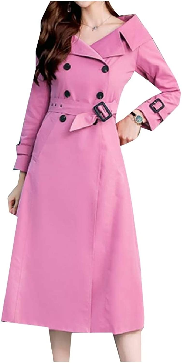 Cobama Women's Slim Fit OL Belt Double Breasted Trench Coat Outwear