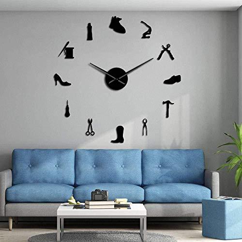 DIY Wandklok Schoenenwinkel Schoenmaker Gereedschap Professionele Wandklok Vintage Cobbler Gereedschap Schoenhamer zelfklevende Acryl Spiegel Sticker Klok 37 inch Zwart