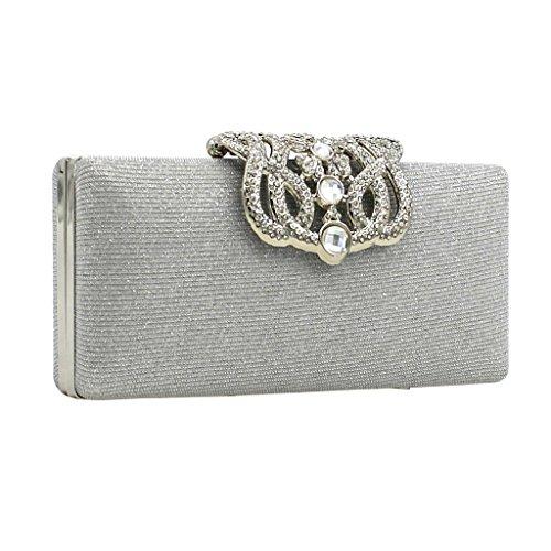 Abend Partei Cocktail Kupplung Geldbörse Brieftasche Handtasche Schulterketten Silber/Gold - Silber