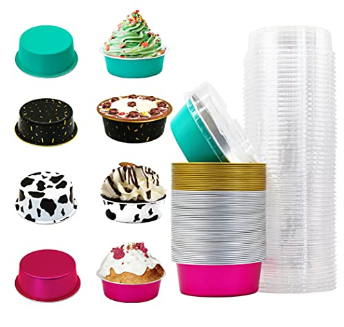 All In One Foil Liners, Yuiviot Aluminum Baking Cups with Lids 60Pack, 4-Inch 5oz Foil Cupcake and Muffin Liner, 60 Cups and 60 Lids(4 Types In 1 Package) for Ramekin, Pie, Cupcake Holder Tin Pan