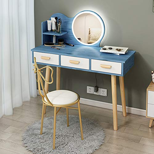 DXZ-Design Vanity Set with Lighted Mirror, Makeup Vanity Dressing Table with Touch Screen Dimming Mirror and 3 Drawers Dresser Desk and Cushioned Stool Set -White