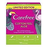 Carefree Cotton Aloe - Protegeslips (transpirable, con algodón y contracto de algodón, 5 x 56 unidades)