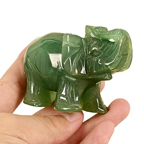 YODOOLTLY Natural Green Jade Stone Elephant, Lucky Elephant Figurine Crystal Gemstone Carved Elephant Statue Ornament Home Decoration (2 Inch,L)