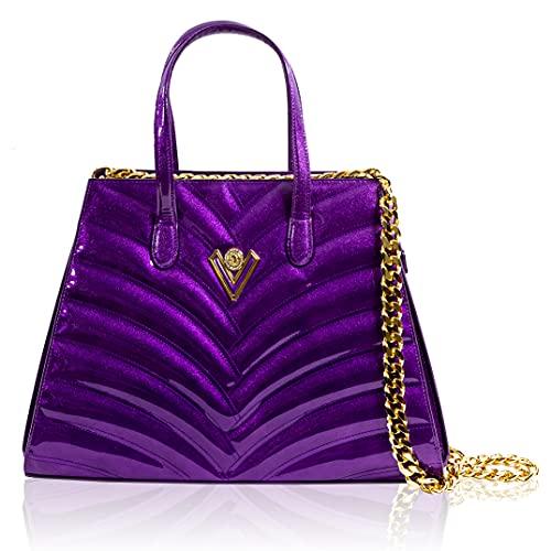 Valentino Orlandi Women's Large Handbag Italian Designer Tote Purse Dahlia Purple Genuine Wavy Leather Bag in Geometric Design with Chain
