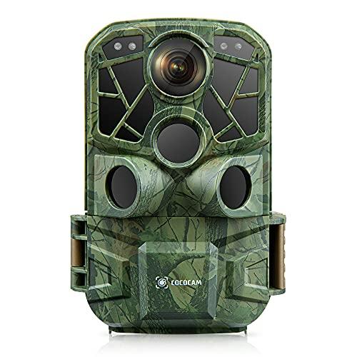 COCOCAM 4K 24MP WLAN Bluetooth Wildkamera Bewegungsmelder Eingebaut WiFi Wildtierkamera 34 pcs LEDs 0,2s Auslöser No Glow Nachtsicht Jagdkamera 120° Erfassungswinkel Unterstützt SD-Karte IP66
