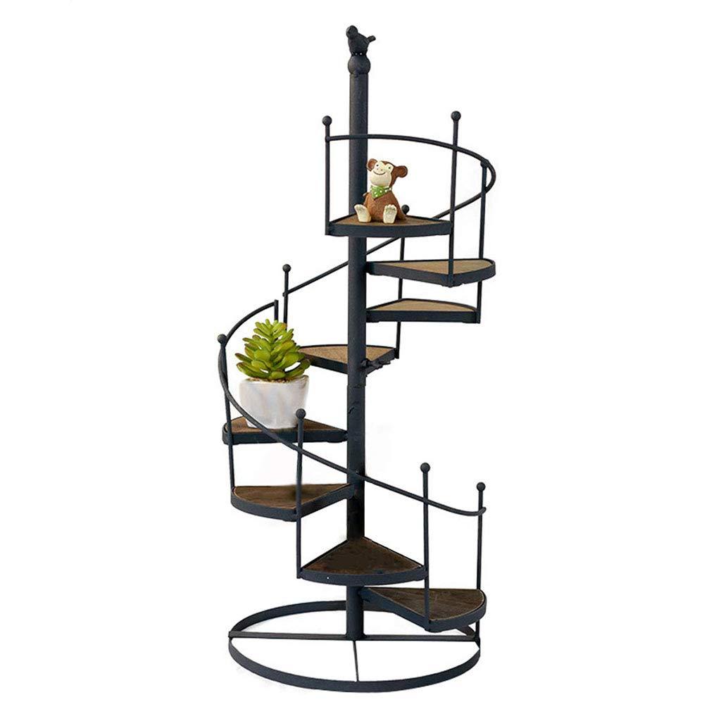 YLIK Soporte para Plantas de Metal Estanterías para macetas de Hierro Escalera de Caracol Estantes para Plantas Estante de Almacenamiento Soporte de exhibición Retro Europeo 8 Niveles Negro: Amazon.es: Hogar