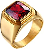 PMTIER Men's Stainless Steel Simple Gold Plated Ring with Square Ruby Gem Stone Size 8