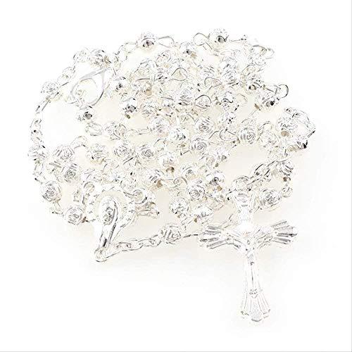 huangshuhua Collar de Rosario con Cuentas de Rosas pequeñas de 4 mm con Caja, dijes religiosos católicos para mí, joyería, Cuentas de oración