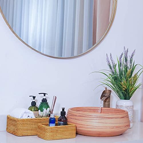 Wicker Baskets For Storage Rattan Closet Bins For Toilet Tank Basket Shelf Organizing Bathroom Woven Cloth Organizer Stackable Set 3 Rectangular Nursery Pack (Honey Brown)