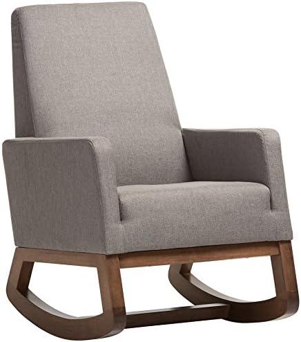 Best Baxton Studio Yashiya Mid Century Retro Modern Fabric Upholstered Rocking Chair, Grey