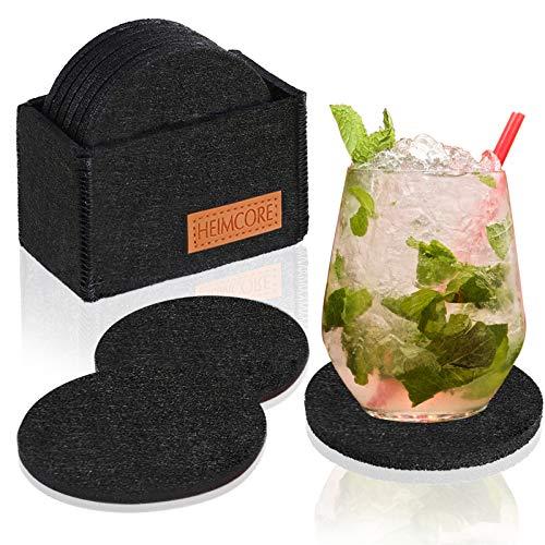 HEIMCORE Filzuntersetzer Rund, 10er Glasuntersetzer mit Halter für Getränke, rutschfest und Hitzebeständig, Tassenuntersetzer aus Filz für Tisch Bar Glas Gläser, Schwarz