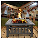 Outdoor Portable 32-inch Metal Fire Pit, Barbecue Square Table, Backyard Patio Garden Stove, Wood-burning Fireplace, Suitable for Garden Outdoor Patio. (Color : Black, Size : 81 * 81)